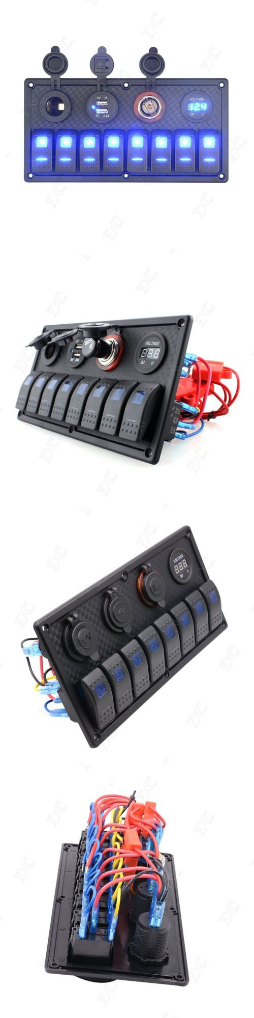 boat parts: Purishion 8 Gang Rocker Switch Panel Voltmeter Double Usb For Rv Car Marine Boat -> BUY IT NOW ONLY: $55.61 on eBay!
