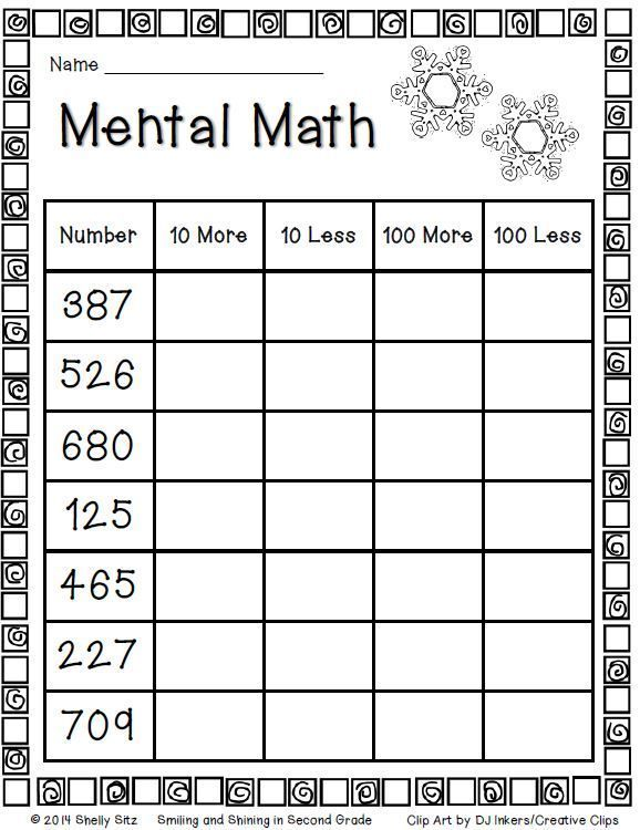 Mental Math For Second Grade Freebie Mental Maths Worksheets First Grade Math Elementary Math
