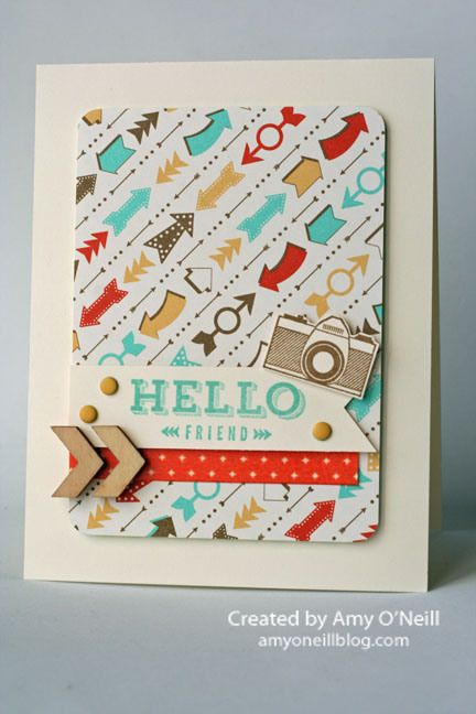 The new essentials wooden elements are a perfect touch on this adorable card!: Keen Stamps, Peachy Keen, Stamps Sets, Stampin Up Card, Hello Friends, Retro Fresh, Wooden Elements, Paper Crafts, Amy O' Neil