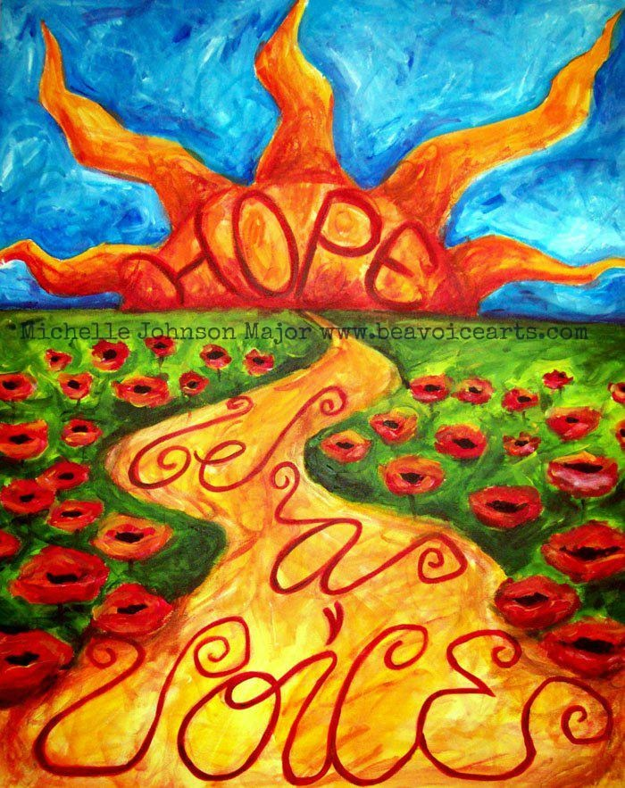 Be a Voice of Hope!  This is the first painting of healing I did after being victimized.