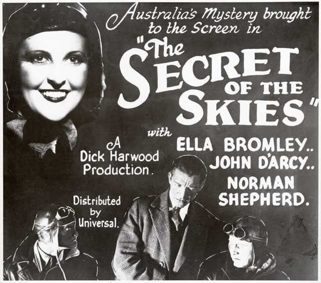 SECRET OF THE SKIES : COPY OF ADVERTISEMENT, TOP LEFT, ELLA BROMLEY (ANNE WALTERS) AND BELOW JOHN D'ARCY (CAPTAIN SINCLAIR) AND NORMAN SHEPHERD (HAL WAYNE) AND PRODUCTION DETAILS