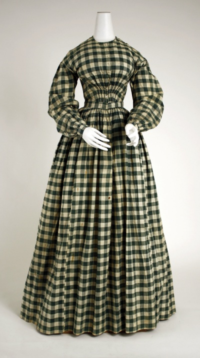 Dress   1840–45   American   cotton  I LOVE this pattern. I will find a way to incorporate it into one of the costumes. Perhaps as an apron?