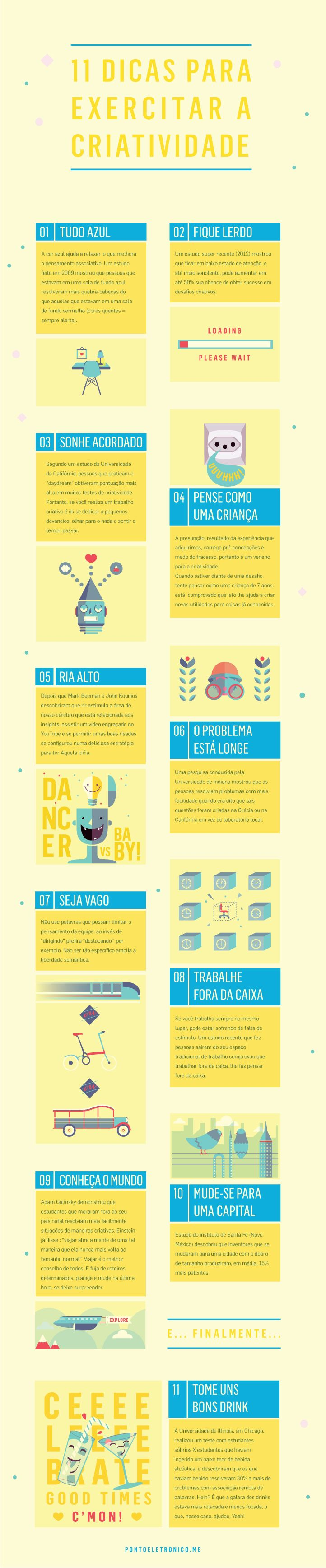 """Infográfico """"ensinando"""" a exercitar a criatividade. #infographic"""