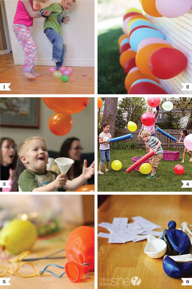 """Balloon party game ideas that will entertain the kids at your next birthday party.  Check out  'Chickabug's' site"".  You do have to be a little careful with balloons around young children but they're a wonderful piece of equipment to help little folks grow eye-hand and eye-foot coordination and confidence."