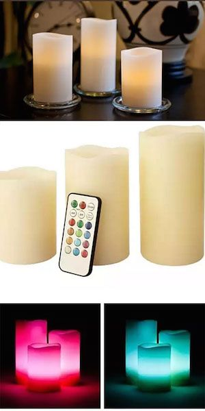 Set the mood with these remote-control LED flameless candles. Featuring melted edges, different heights, colorful glows to choose from, and the option to set them to a flicker or steady glow, you'll instantly feel relaxed, and ready to soak in the tub or enjoy a glass of wine.