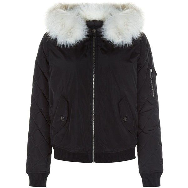 New Look Teens Black Faux Fur Hooded Bomber Jacket (188395 PYG) ❤ liked on Polyvore featuring outerwear, jackets, black, blouson jacket, bomber style jacket, zip front jacket, faux fur hood jacket and flight jacket