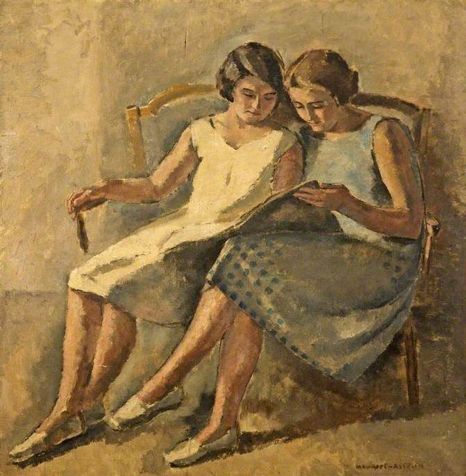 Two Girls Reading.Maurice Asselin (French, 1882-1947).Oil on canvas.Cheltenham Art Gallery & Museum.
