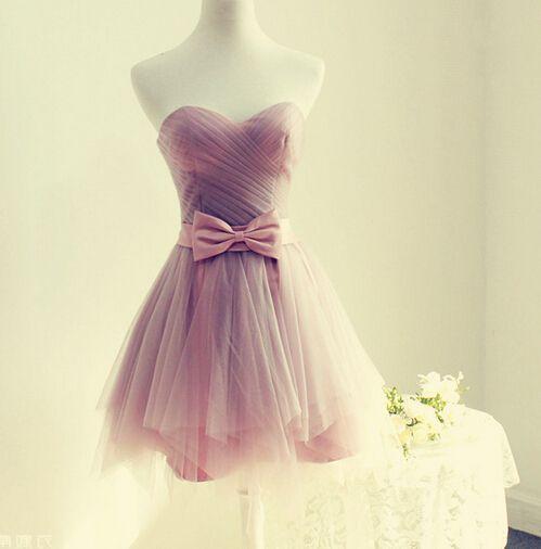 Nuevo Sencillo de Color Rosa Vestidos de Baile 2016 Sweetheat Bow Sashes Mini Tulle de la Longitud Vestido de Fiesta Corto Barato(China (Mainland))