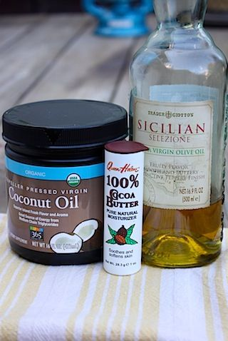 Homemade All-Natural Face Cream:  1 T coconut oil,  2½ T cocoa butter,  ½ T olive oil