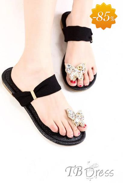 Delicate New Summer Diamond Butterfly Slipper Sandals.