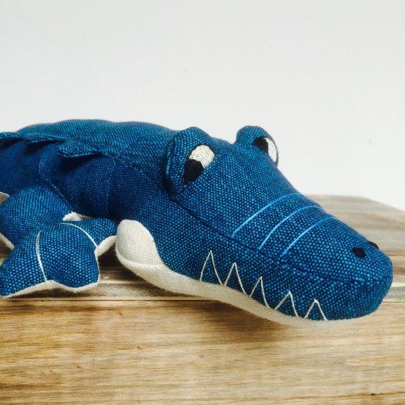 NEW Crocodile Toy Blue Cream Body Hand Made by inmagarciadesign