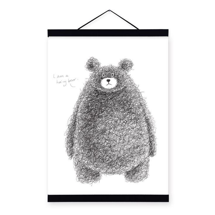 moderne minimalistische zwart wit kawaii beer grote a4 a3 poster afdrukken originele dier canvas schilderij home geschenken jongen kamer kunst aan de muur in       van Schilderen & Kalligrafie op AliExpress.com | Alibaba Groep