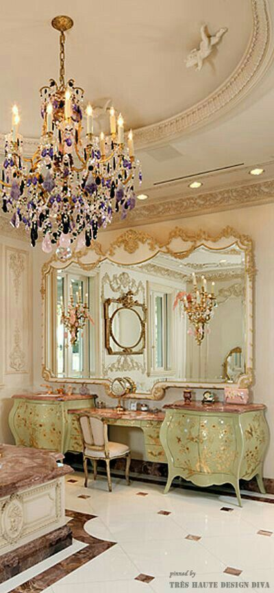 I love the chandelier in this room.  It looks to be a combination of mined amethyst and rose quartz.  Just exquisite!
