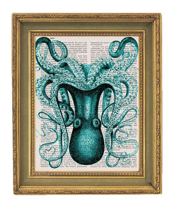 Octopus Print Large Teal   Vintage by papergangsterprints on Etsy, $6.95  For bathroom