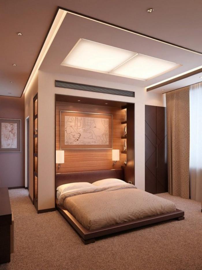faux plafond lumineux et lit plateforme lampes encastrables dans une chambre beige - Faux Plafond Salle De Bain Moderne