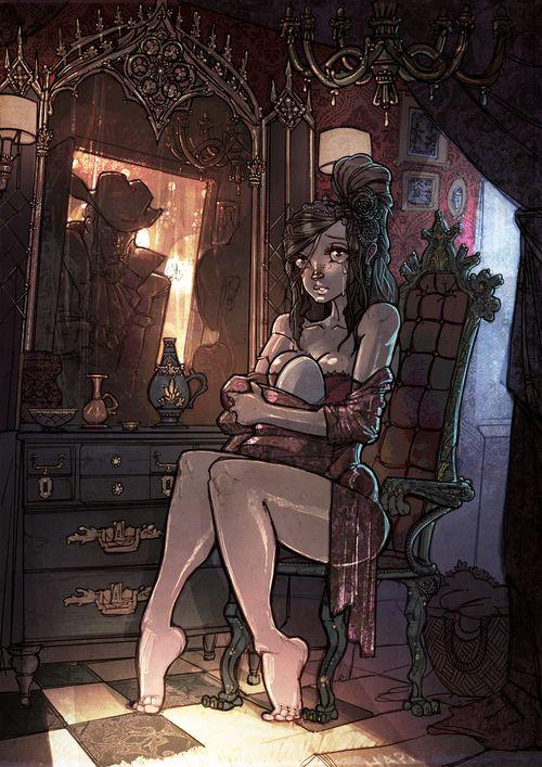 Illustration by Even Skaranger #spooky #interiordesign #ghosthouse #victorian #dark #humor #sweet #sexy #digitalart #interior
