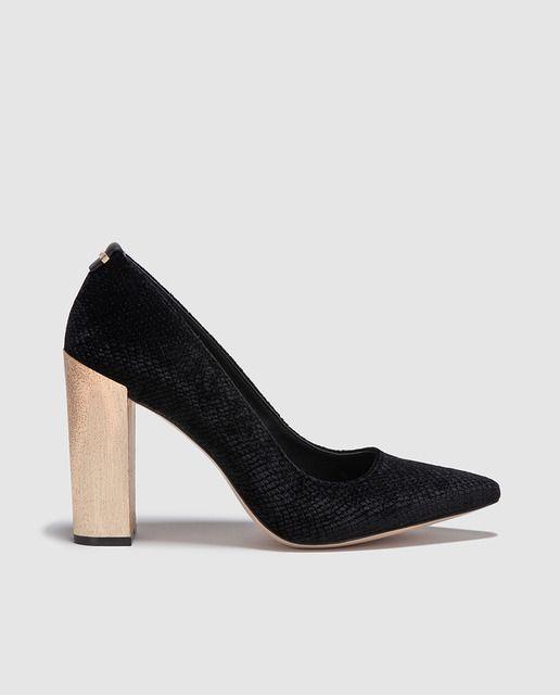 Calvin Klein De Zapatos Salón Metálico Con Mujer Negros Tacón qAItx