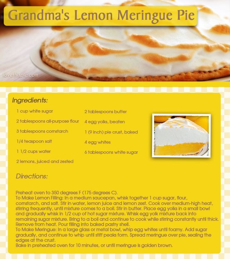 Grandma's Lemon Meringue Pie yummy dessert delicious recipe pie pies recipes easy recipe easy mouthwatering desserts lemon meringue