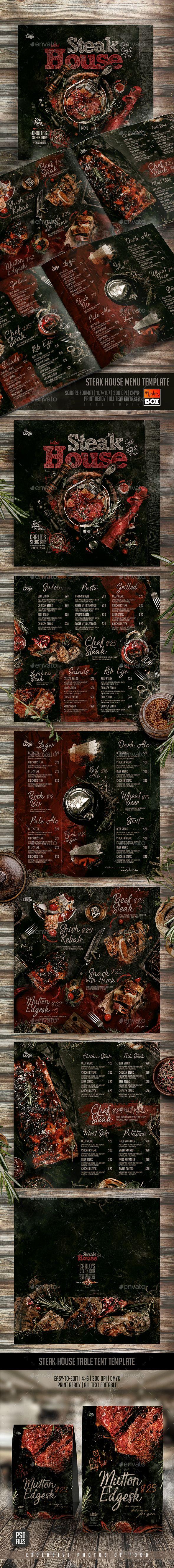 Steak House Menu Template — Photoshop PSD #steak house #italian menu • Download ➝ https://graphicriver.net/item/steak-house-menu-template/21528506?ref=pxcr