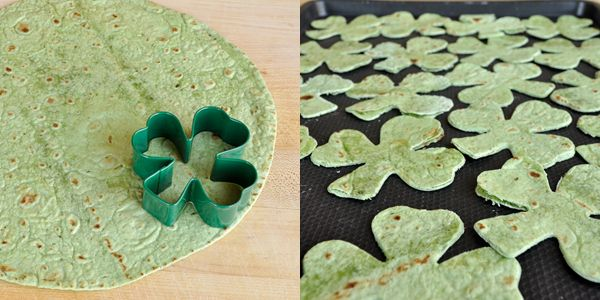"""I love these... shamrock """"chips"""" made from spinach tortillas!"""