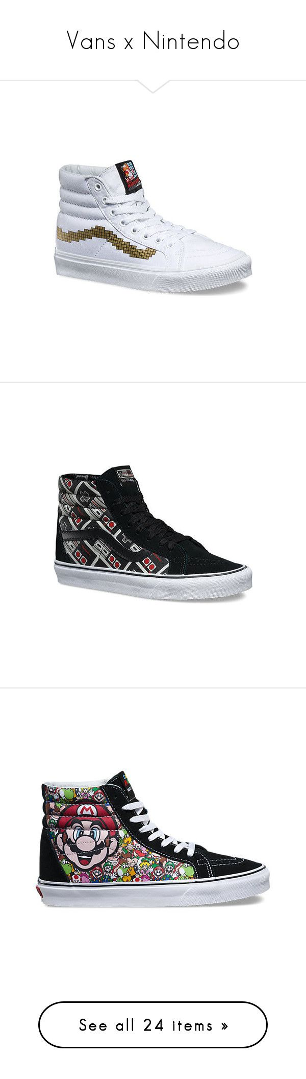 """Vans x Nintendo"" by lulucosby ❤ liked on Polyvore featuring shoes, sneakers, casual footwear, casual shoes, high top canvas sneakers, gold evening shoes, gold high-top sneakers, black evening shoes, black high-top sneakers and black white sneakers"