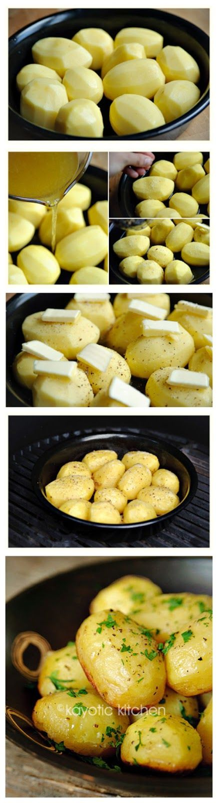 Place the peeled and washed (even-sized) potatoes in ovenproof pan. Make sure they fit snuggly together.Add the grated garlic or powder to t...