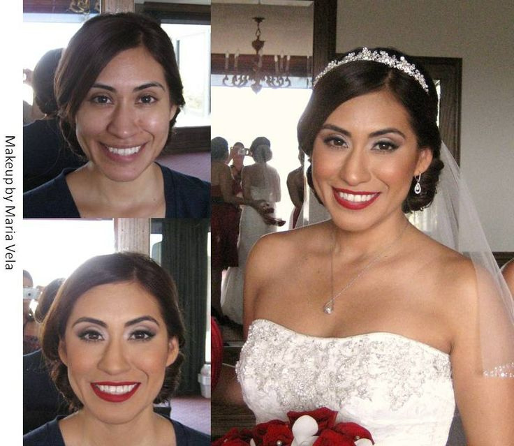 Bridal Makeup with a Red Lip