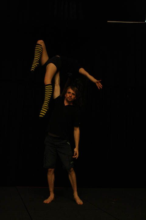 Little Miss Circus doing acrobalance for fun with the gorgeous Tom B!