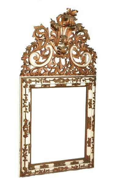 MIRROR  Baroque style. The end of the 1800s.  Fasettslepet mirror glass. Upper part with richly carved akantusdekor painted in white, green and gold. Mirror frame with richly carved decoration in the shape of flowers and foliage, painted in white and bronze color. Two parts. HEIGHT 135.00 CMLENGTH 69.00 CM