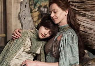 Lysa (Kate Dickie) gets cosy with her creepy son, Robin (Lino Facioli) in Episode 5 (entitled 'First of His Name), Season 4 of HBO's Game of...