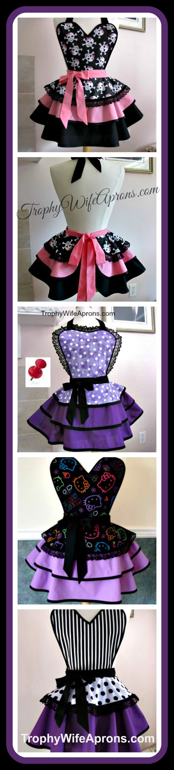 ☀  Vintage inspired sexy aprons - flirty aprons - Custom made or ready made hostess aprons -Sizes T2 to adult 4XL #hostessaprons #retroaprons #sexyaprons☀ ☀ I regularly giveaway a FREE Funky Hostess Apron ☀ ☀  CLICK here for details==> www.facebook.com/TrophyWifeAprons