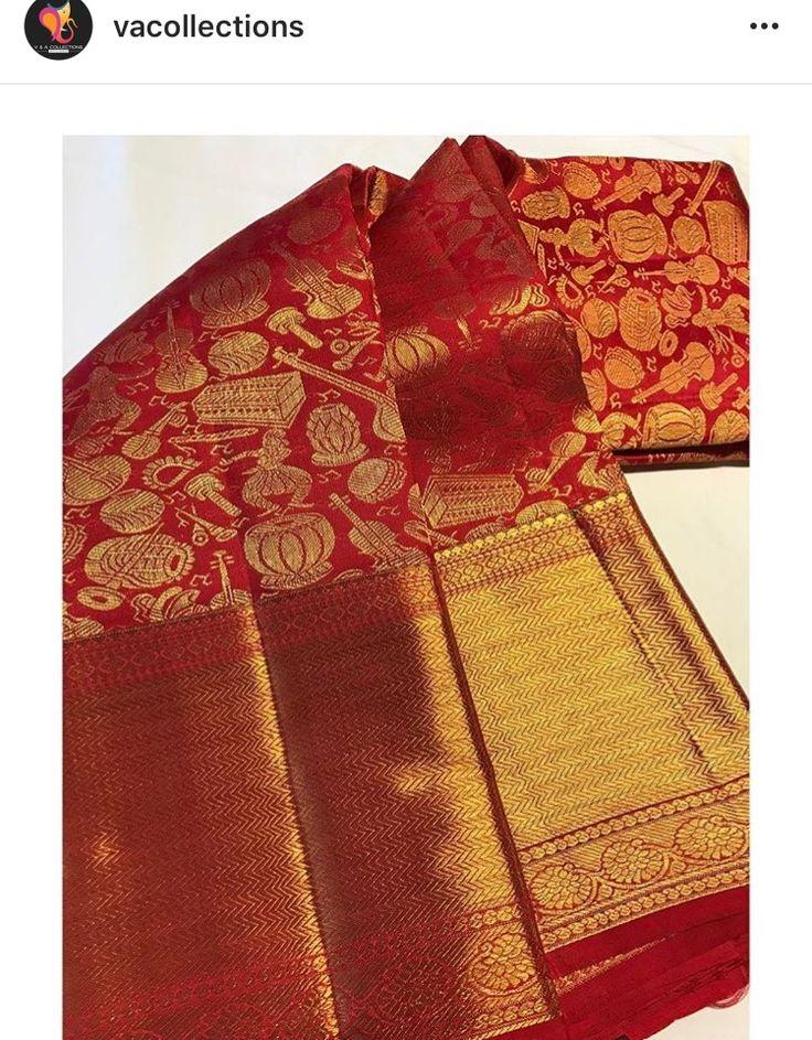 BEAUTIFUL rich red koorai saree with musical instrument motifs and thick golden border. Kanchipuram Silk by VA COLLECTIONS. Kancheepuram Silk Sari/ Koorai/ Wedding Saree/South Indian/Tamil Saree