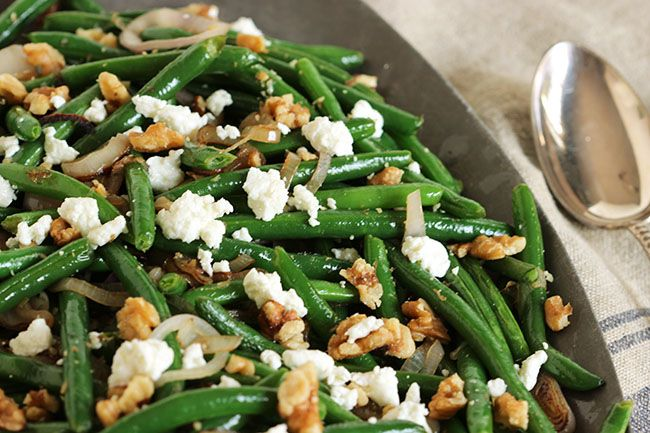 Green Beans with Goat Cheese, Shallots and Walnuts