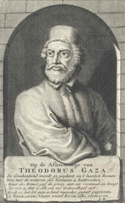 Theodorus Gaza or Theodore Gazis (c. 1398 – c. 1475), also called by the epithet Thessalonicensis, was a Greek humanist and translator of Aristotle, one of the Greek scholars who were the leaders of the revival of learning in the 15th century (the Palaeologan Renaissance). On the capture of his native city by the Turks in 1430 he escaped to Italy. In 1447 he became professor of Greek in the newly-founded University of Ferrara. http://en.wikipedia.org/wiki/File:Gaza_Theodore-Botticelli.JPG