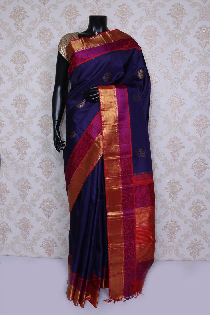 Stunning mid night #blue pure #kanchipuram silk #zari #weaved saree-SR14106