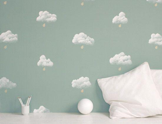 Clouds: Paris Wallpapers, Kids Bedrooms, Interiors Wall, Wall Paintings, Paintings Wall, Baby Rooms, Bedrooms Wall, Rain Drop, Kids Rooms