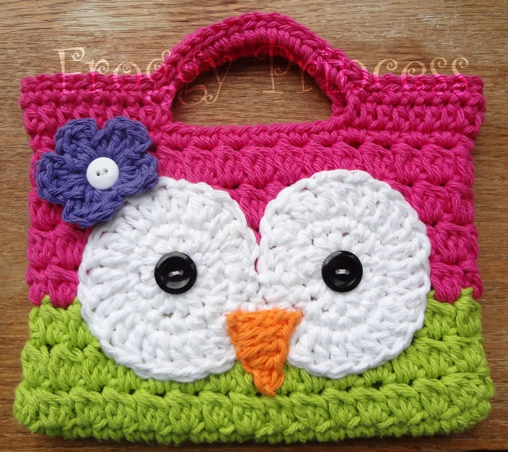 Owl Purse Hot Pink and Green Hand Crocheted Toddler Bag Tote READY TO SHIP. $15.00, via Etsy.