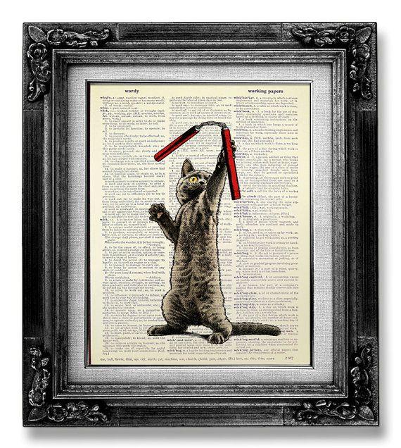 CAT Kunstdruck Cat-Malerei Wörterbuch-Kunstdruck von GoGoBookart