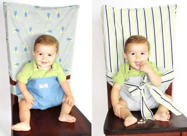 Just slip over the back of a chair and tie!Sewing, Good Ideas, Diaper Bags, Ties Chairs, Diapers Bags, Kids Stuff, Baby Seats, Portable High, High Chairs