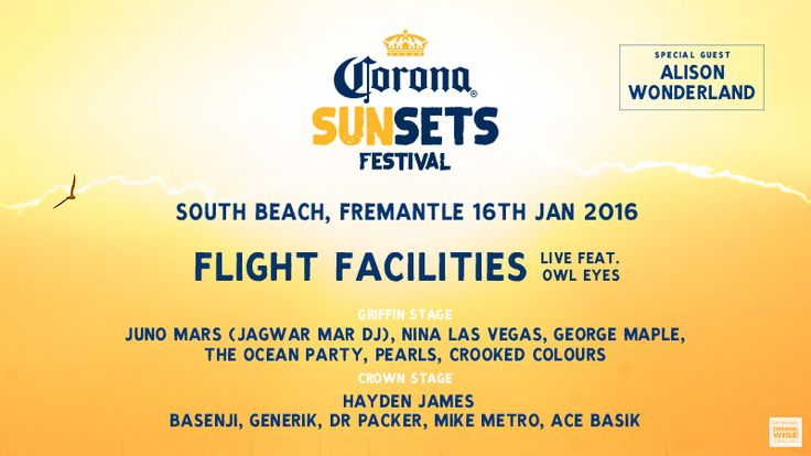 Corona Sunsets Festival Fremantle January 16th 2016  Alison Wonderland Flight Facilities + more   Come see our stall for some amazing swimwear and promos