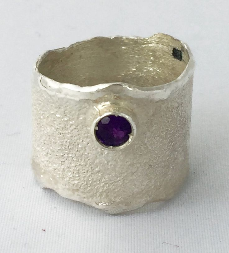 Amethyst Wide Silver ring, Amethyst Solitaire ring foster texture