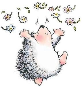 scrapbooking hedgehogs | Penny Black Rubber Stamp HEDGEHOG JOY Hedgehog 1436k