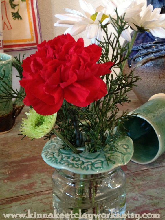Mint Green Jar Frog  Stoneware flower arranger. by KinnakeetClay, $15.00