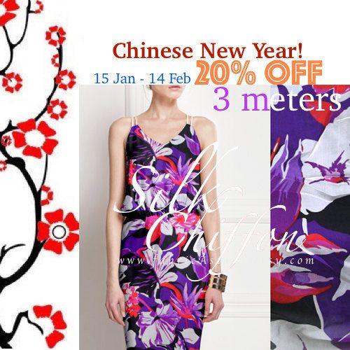 Mousseline de soie 135x300cm Tropical tissu violet par fabricAsians