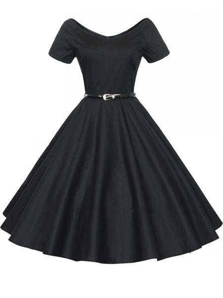 This is so pretty!!  Enticing& Vintage V Neck Plain Skater-dress