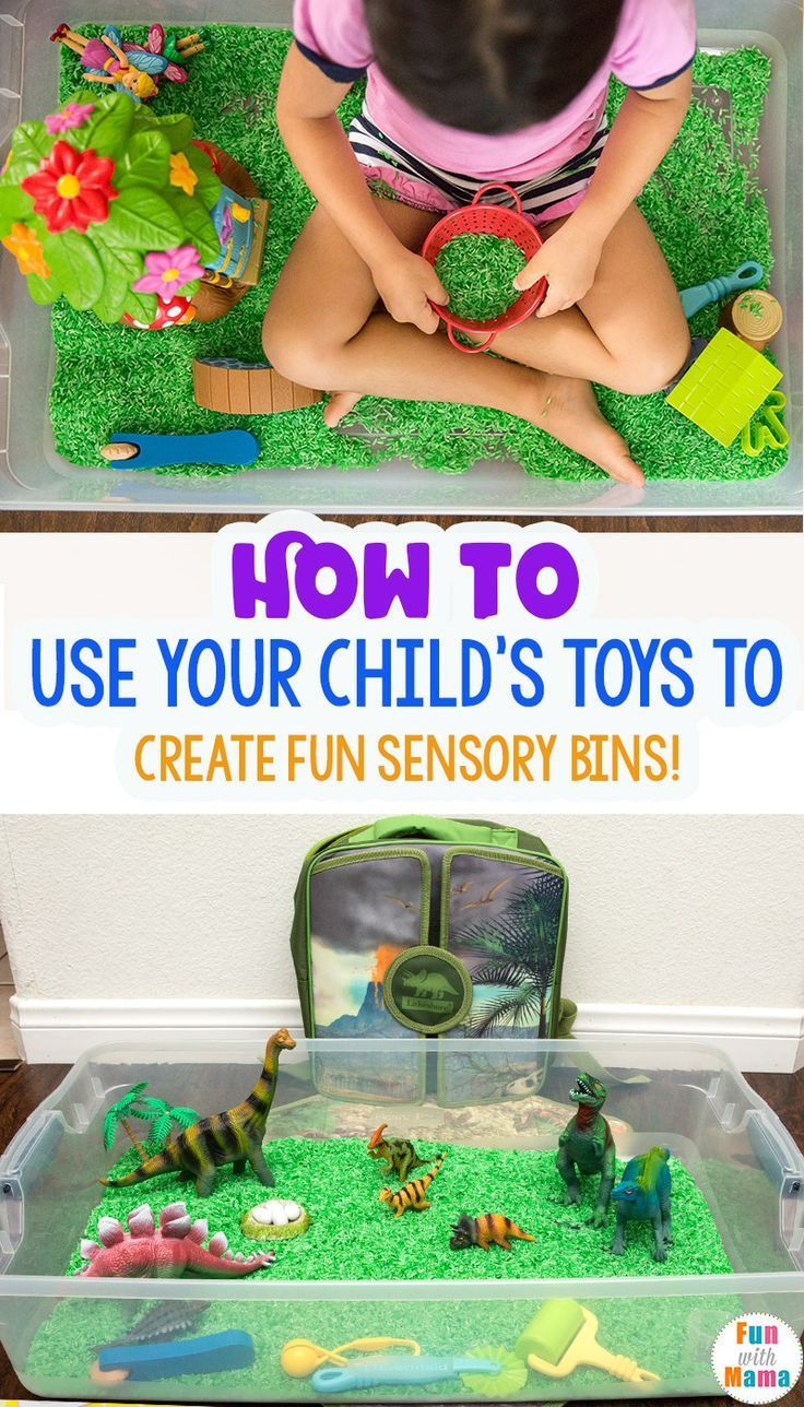 How to Create Sensory Bins with Child's Toys - Fun with Mama #sensorybins #sensory #bins #sensoryplay