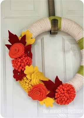felt and yarn fall wreath