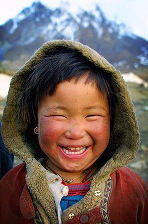 Smiling Tibetan girl, in Muktinath,