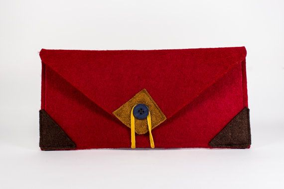 Felt Handbag Cosmetics Bag Felt Felt Pouch Leather and by detcraft