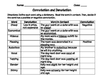 Connotation and denotation worksheets 8th grade